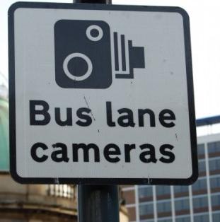 bus lane cameras sign