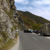 Cars and the annoying slow caravans.