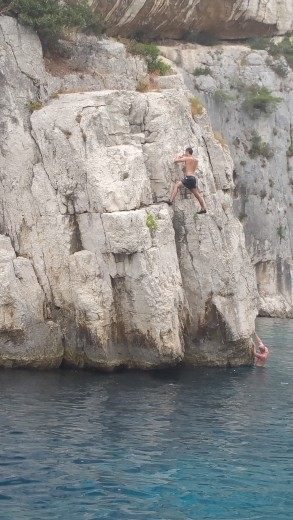 Climbing, Jumping and diving into the water