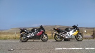 "My ""new"" bike and Marie´s bike at the front. One of Snake Pass summits on the background"