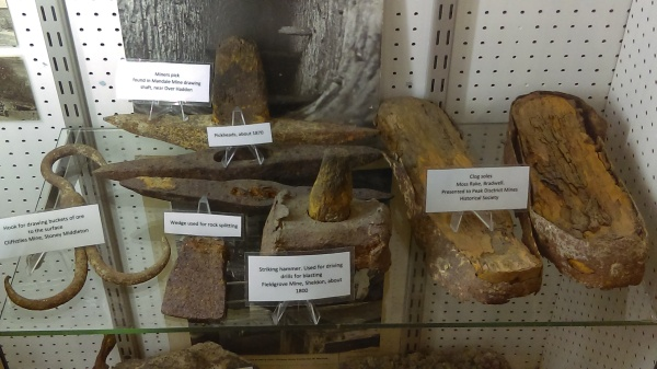 Little museum showing tools found in the Speedwell cavern