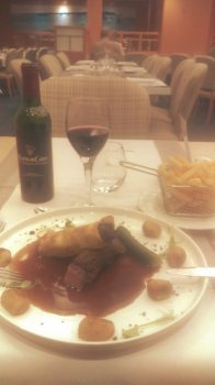 The main course, Duck two ways and a French Bordeaux wine. The stomach was happy.