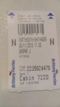 Cabin 7220 on deck 7 (7th floor) access card